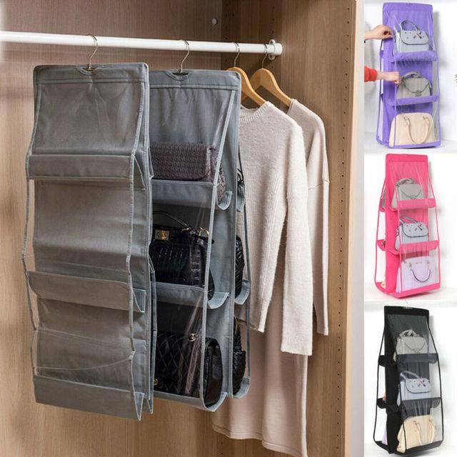 Φορητή κρεμάστρα για τσάντες 6 θέσεων οργάνωση τσαντών στην ντουλάπα με 6 τσέπες