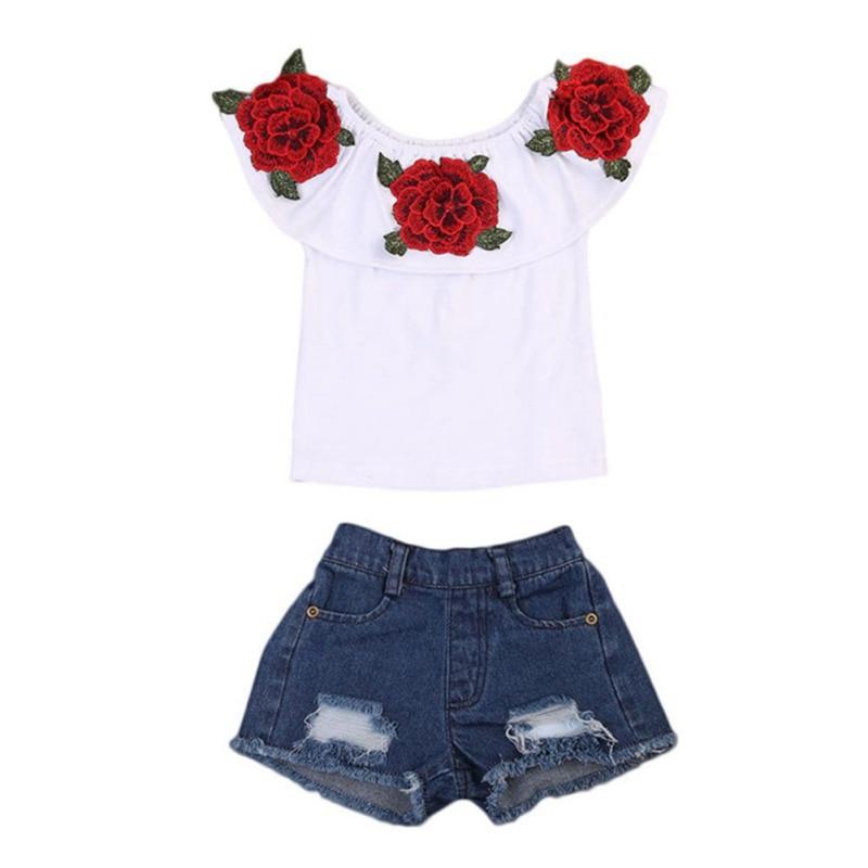 Été enfants bébé filles décontracté Floral hors épaule t-shirt + Denim Shorts costumes ensemble de Costume