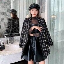 Joker Slim Fit Temperament Socialite Small Xiangfeng Coat Female 2020 Autumn Grid Suit Collar Thick