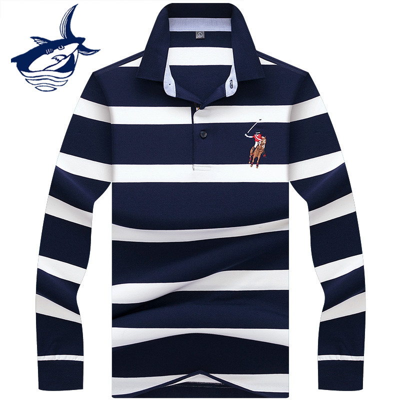 New Arrival Long Sleeve Polo Shirt Men High Quality Stylish 3D Embroidery Brand Tace & Shark Polo Shirts Casual & Business Cloth