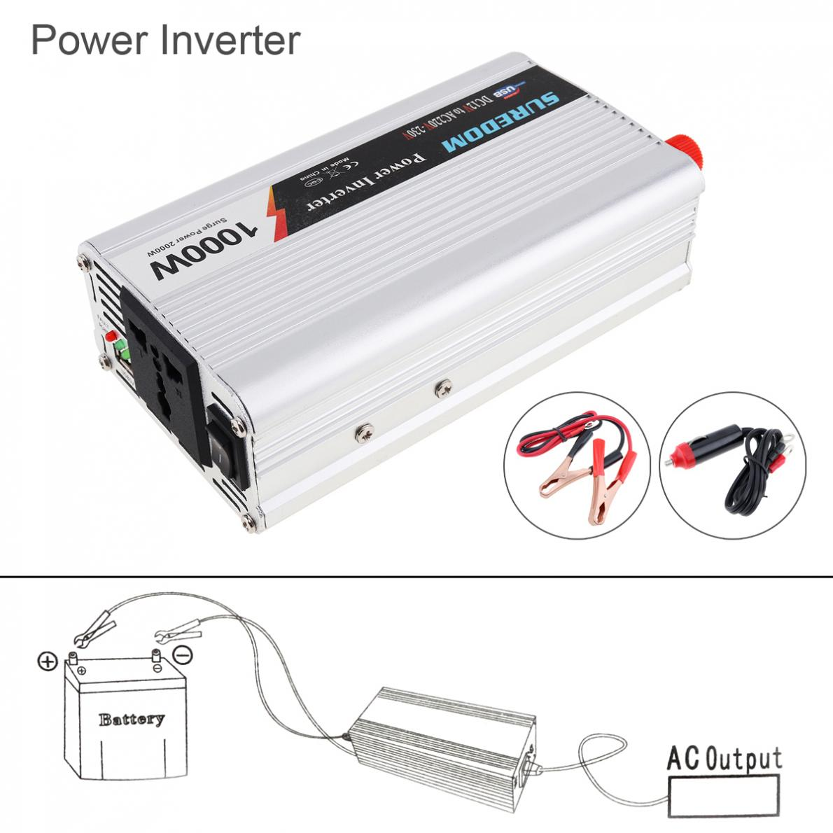 1000W DC 12V <font><b>24V</b></font> to AC <font><b>220V</b></font> 110V USB Portable Car Power <font><b>Inverter</b></font> Adapter Charger Universal Voltage Converter Surge Power <font><b>2000W</b></font> image