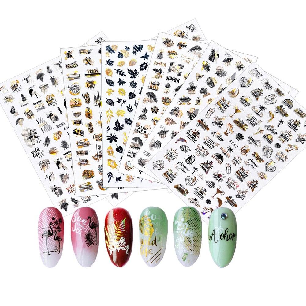 Купить набор 3d наклеек для ногтей лазерные переводные наклейки золотистого