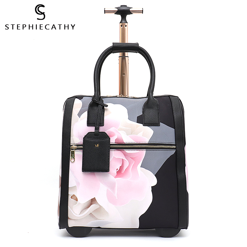 SC Fashion Luggage Metal Trolley Travel Bag Flower Suitcase On Wheels Valise Bagage Roulettes Hand Trolley Board Chassis Package