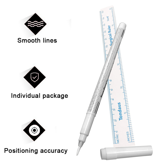 White Surgical Eyebrow Tattoo Skin Marker Pen Tool Accessories Tattoo Marker Pen With Measuring Ruler Microblading Positioning 3