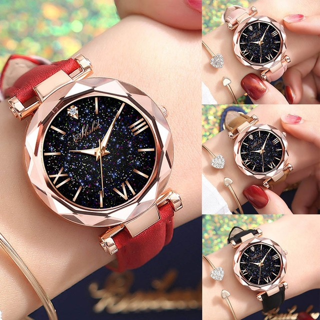 Fashion Roman Scale Watch Women's Quartz Diamond Wristwatch Stars Little Point Frosted Belt Watch Men and Women Casual Watch 6