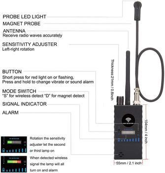 Anti Spy RF Detector,High Sensitivity Wireless Bug Detector for GPS Tracking GSM Listening Device Finder Radio Scanner 3