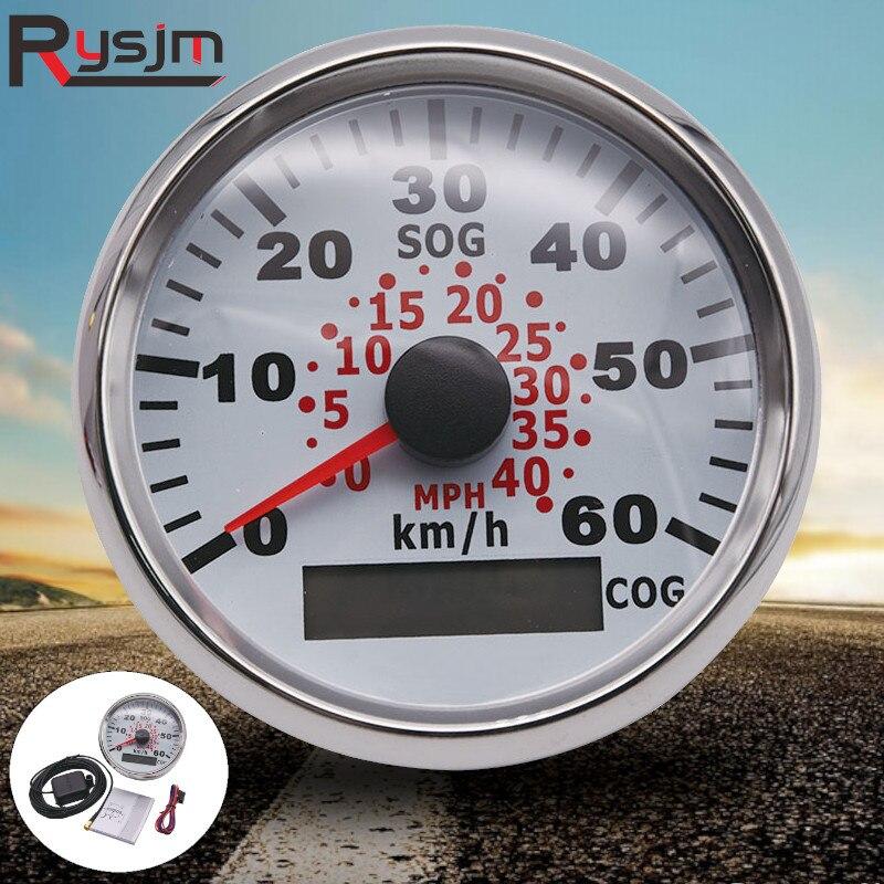 85 ミリメートル車ボート 60KMH GPS スピードメーター走行距離スピードメーターゲージ赤バックライトオートバイ自動車用トラックヨット 9 〜 32V