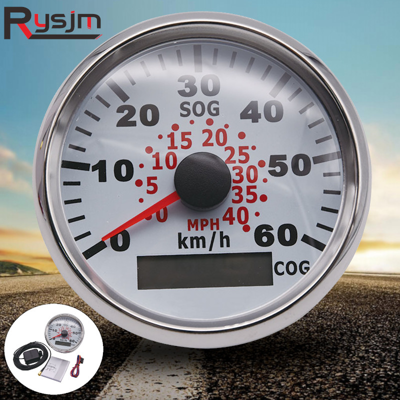 85 millimetri Auto Barca 60KMH GPS Tachimetro Contachilometri Tachimetro Gauge Con Retroilluminazione Rossa per Auto Moto Camion Yacht 9 ~ 32V