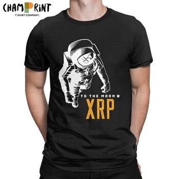 Amazing Ripple XRP Moon T-Shirt Men Crew Neck Cotton T Shirts Bitcoin Crypto Short Sleeve Tees Party Clothing 1