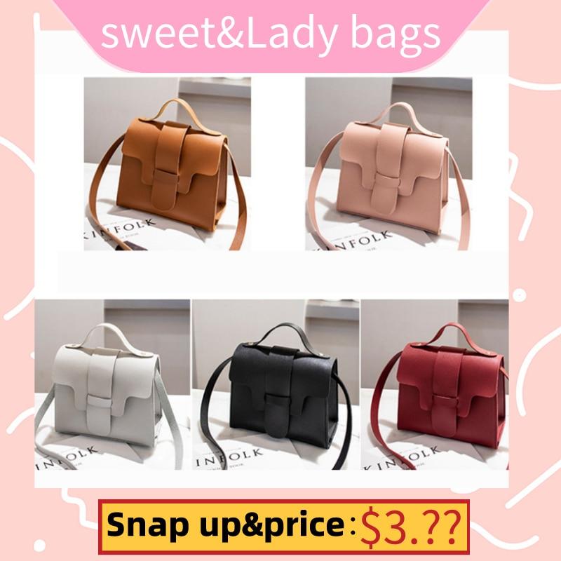 Women Vintage Handbags Small Square Solid Color Simple Female Crossbody Bag SER88