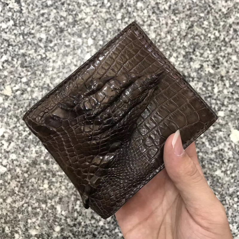 Authentic Crocodile Claw Skin <font><b>Men's</b></font> <font><b>Short</b></font> Bifold <font><b>Wallet</b></font> Card Holders <font><b>Genuine</b></font> Alligator Paw <font><b>Leather</b></font> Male Small Brown Clutch Purse image