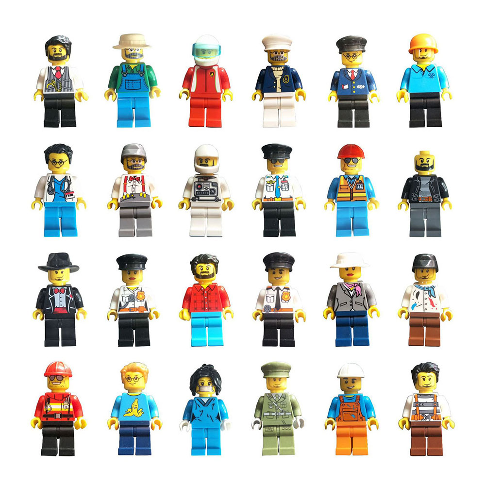 12pcs/set Buildable Model Kids Figure Building Block Worker Police