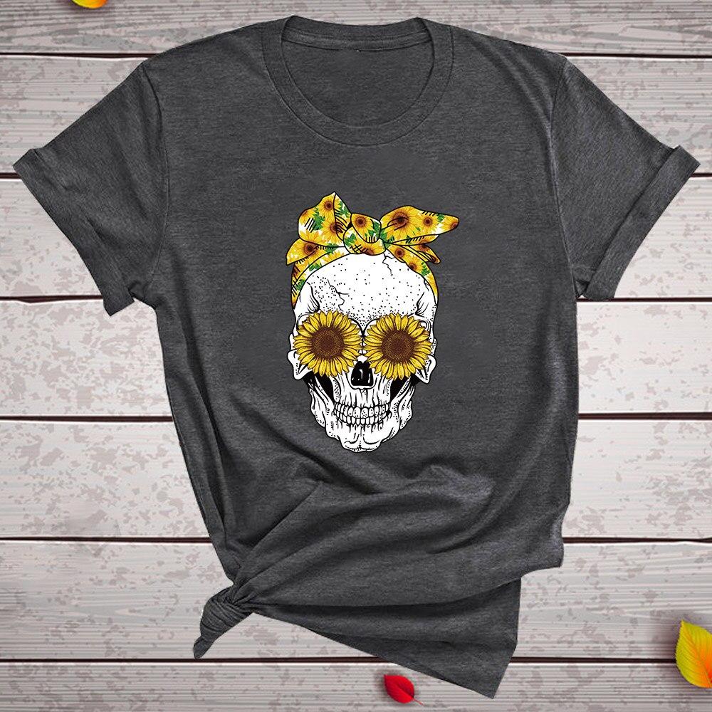 Hillbilly śmieszna czaszka Punk T koszula kobiety moda na co dzień z krótkim rękawem słoneczniki koszulki koszulka Femme topy Mujer Verano 2019 3