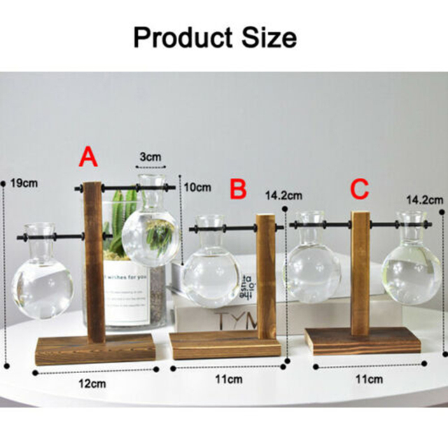 1Set Glass Vase Home Garden Glass Hydroponic Container Table Desktop Transparent Glass Bulb Vase Flower Pot Home Decor 5