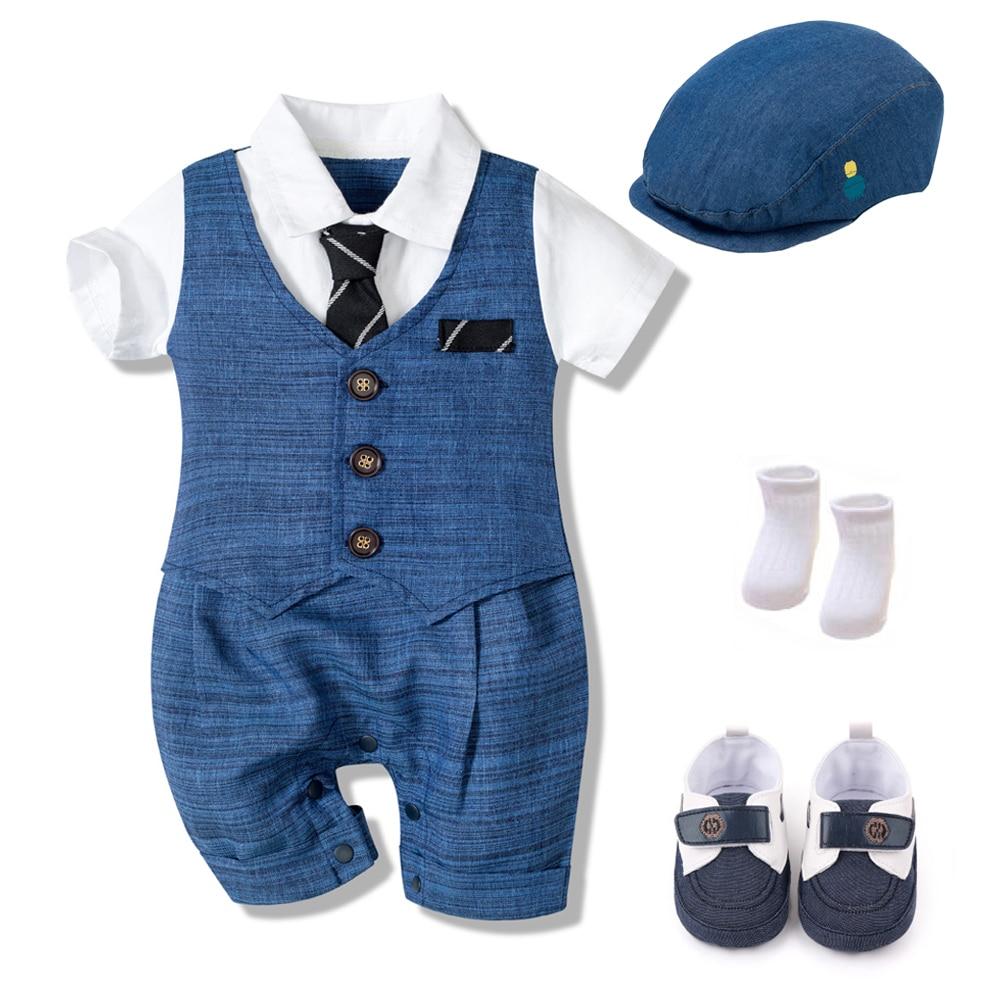 Летний детский комбинезон Одежда для новорожденных, комплекты для мальчиков официальная одежда из хлопка детская шапочка + комбинезон + туфли + носки партия из 4 штук наряд синее покроя «Принцессы» 1