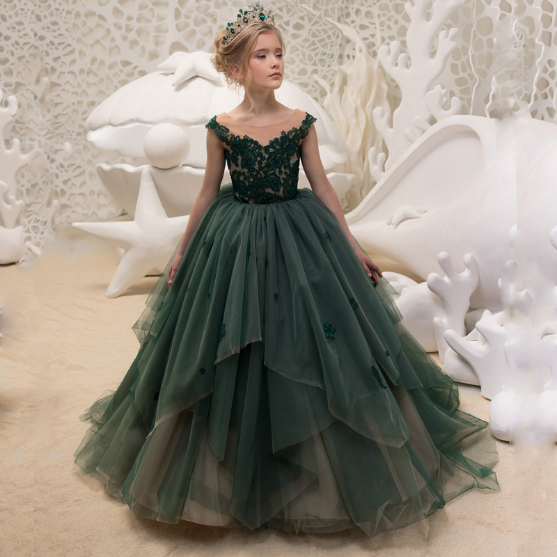 Green 2019 Flower Girl Dresses For Weddings Ball Gown Cap Sleeves Tulle Appliques Lace Long First Communion Dresses Little Girl
