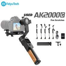 Feiyutech oficial remodelado (usado) ak2000c 3-axis câmera cardan estabilizador com arranhões liberação dobrável para canon