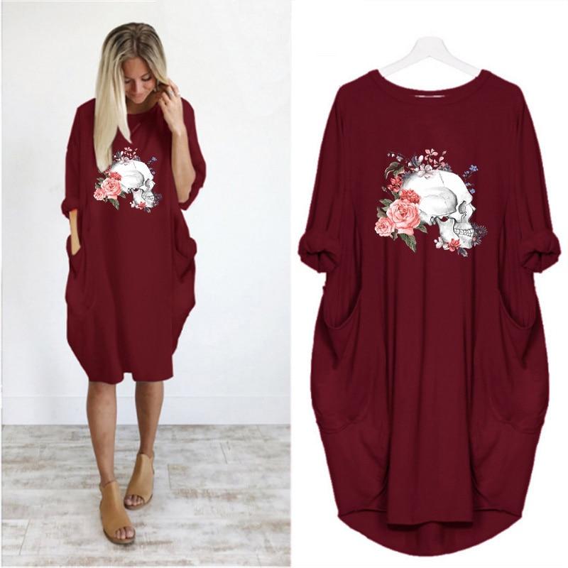 Women Loose Dresses Long Sleeve Dress Plus Size Harajuku Skull Print Casual Robes Femme Vintage o Neck Pocket Party Vestidos 187