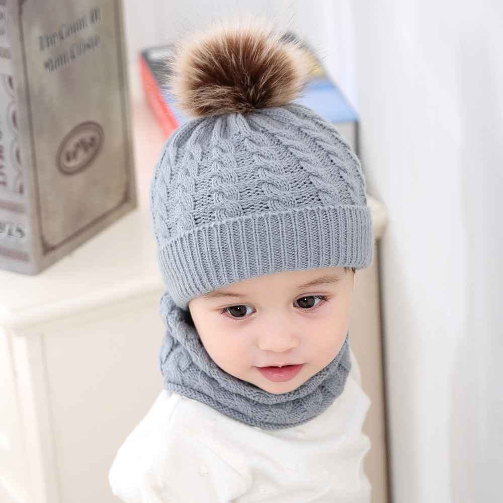New Arrival Baby Hat Scarf Set 2 Pieces Warm Pom Pom Boys Girls Kids Warm Beanie Suits