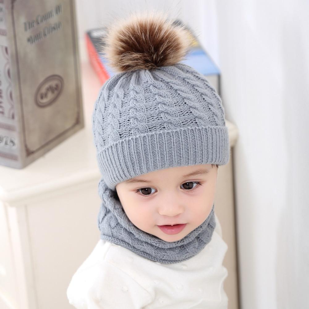 New Arrival Baby Hat Scarf Set 2 Pieces Warm Pom Pom Boys Girls Kids Warm Beanie Suits