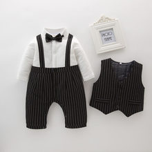 2019 Winter Baby Long Seeved Quilted Cotton Thicken Keep Warm British Style Bow Tie Rompers And Vest Boys Gentleman Cotton Suit(China)