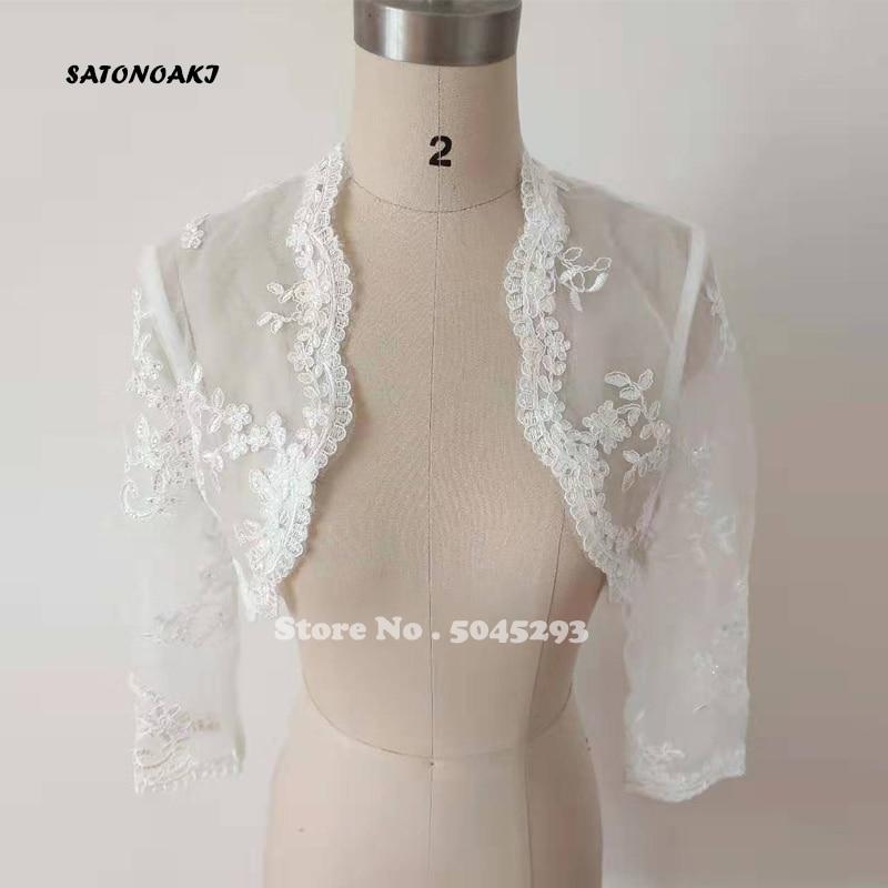 SATONOAKI Elegant 2019 New Shares Of Women / Girls 3/4 Long Sleeve White Lace Shoulders Cropped Bolero Jacket Wedding Wraps
