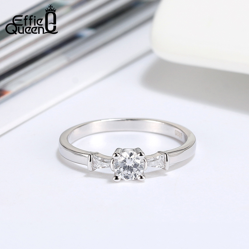 Effie Queen 925 Silver Finger Ring Simple Design Silver Wedding Ring Fine Jewelry For Female With AAAA Zircon Jewelry Gift BR193