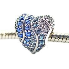 Mieszane niebieskie kamienie kryształ w kształcie serca koraliki dopasowany wisiorek bransoletka i naszyjnik Femme moda 925 srebro koraliki do tworzenia biżuterii