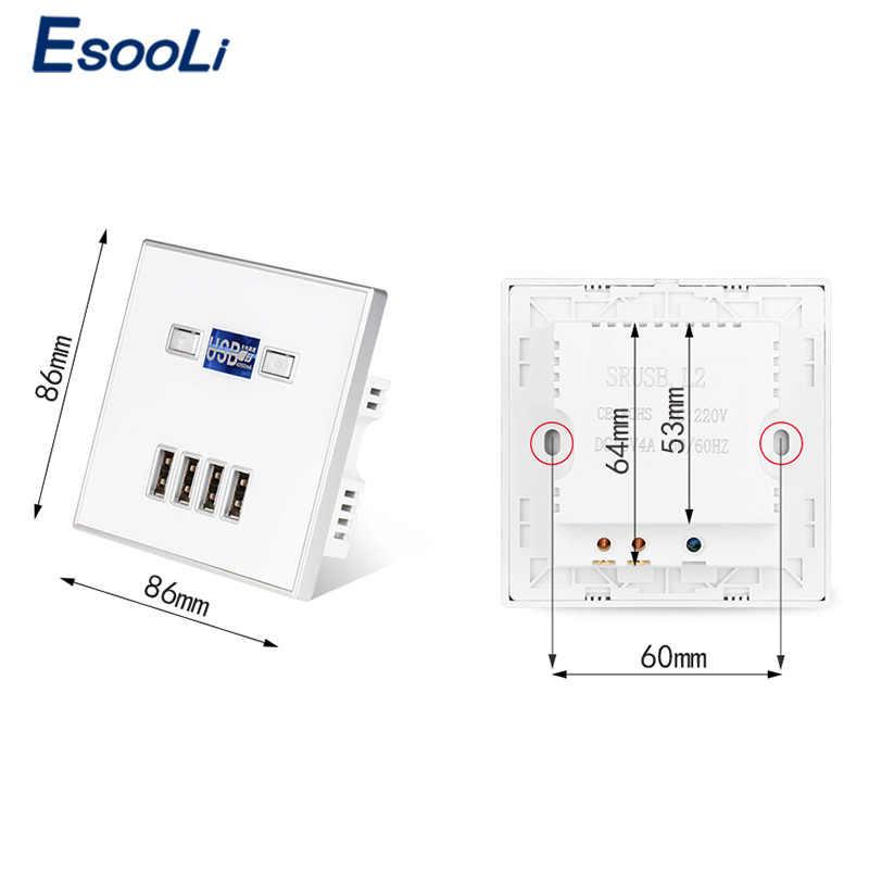 Esooli 검정 4 포트 usb 포트 4a 벽 충전기 어댑터 eu 플러그 소켓 전원 콘센트 패널 전기 벽 충전기 어댑터 충전