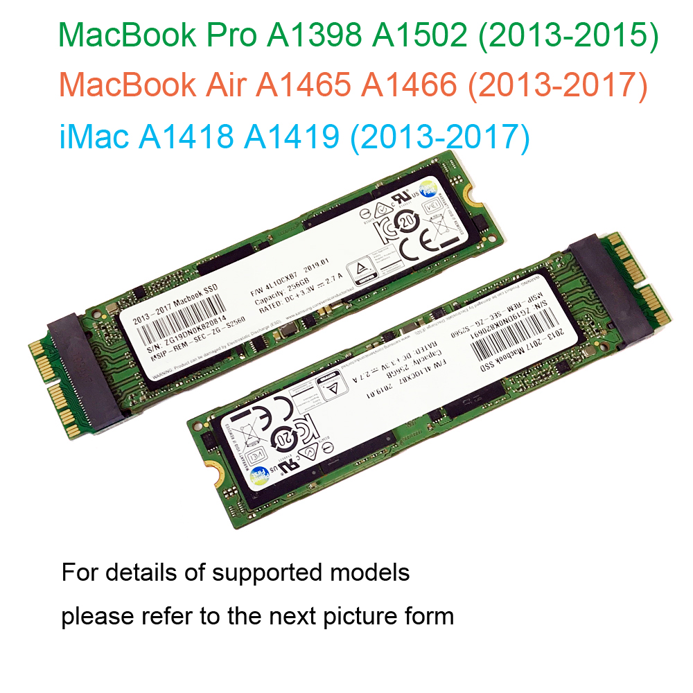2013 2014 2015 2017 Macbook Air A1465 A1466 128GB 256GB 512GB 1TB SSD Solid State Drive Mac Pro A1398 A1502 512G Hard Drive Ssd