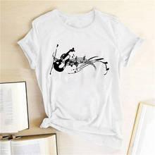 Женская футболка с забавным принтом музыкальных нот Повседневная