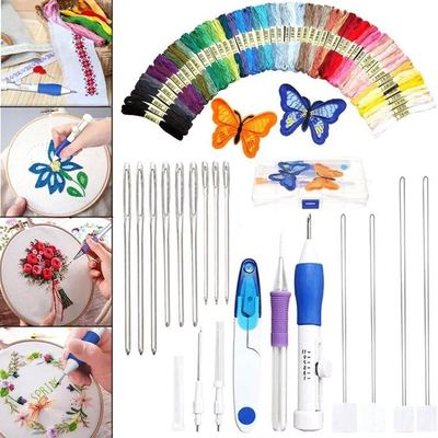 50 Threads Set, Magic DIY Embroidery Pen Knitting Sewing Tool Kit Punch Needle
