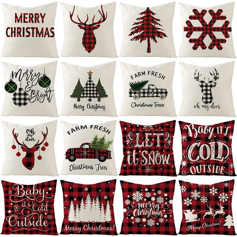 Funda de cojín de Navidad 45*45 funda de almohada cojines de sofá fundas de almohada de algodón fundas de lino para almohadas decoración del hogar 0262