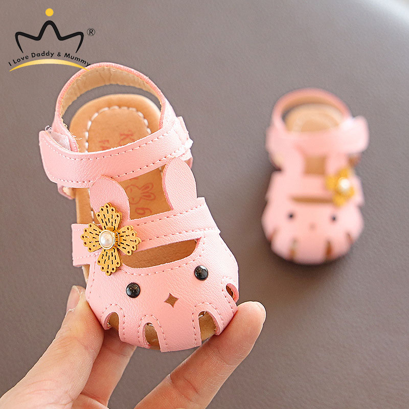 Cute Rabbit Baby Girl Sandals Soft Leather Flower Cartoon Baby Sandals Non-slip Sole Infant Girls Shoes Outdoor Baby Shoes