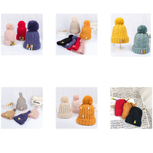Cute Pompon Crochet Baby Winter Hat For Kids Double Side  Colorful Knitted Warm Hats Beanies Caps Hair Accessories