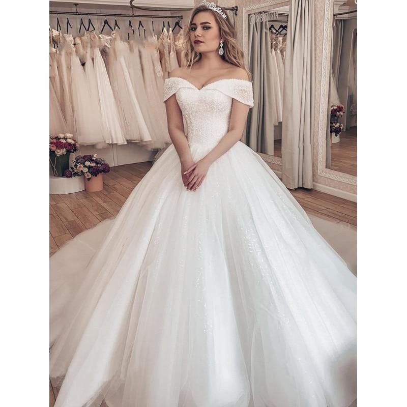 Vestido Noiva 2019 Sparkly Crystal Wedding Dress Off The Shoulder Bridal Ball Gown Luxury Brautkleid Robe De Mariage