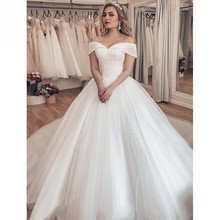 فستان زفاف فاخر من Vestido Noiva 2020 مزين بكريستال لامع عاري الكتفين لحفلات الزفاف