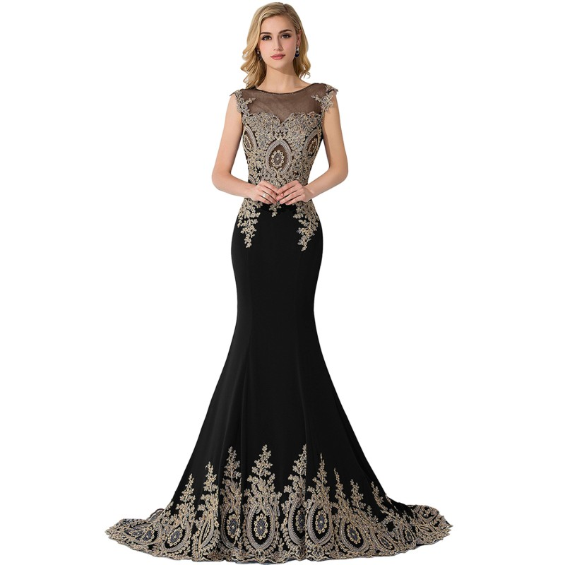 Evening Dress 2020 Elegant Long Mermaid Black Formal Gown Real Photo 2019 Lace Applique Sleeveless Robe De Soiree