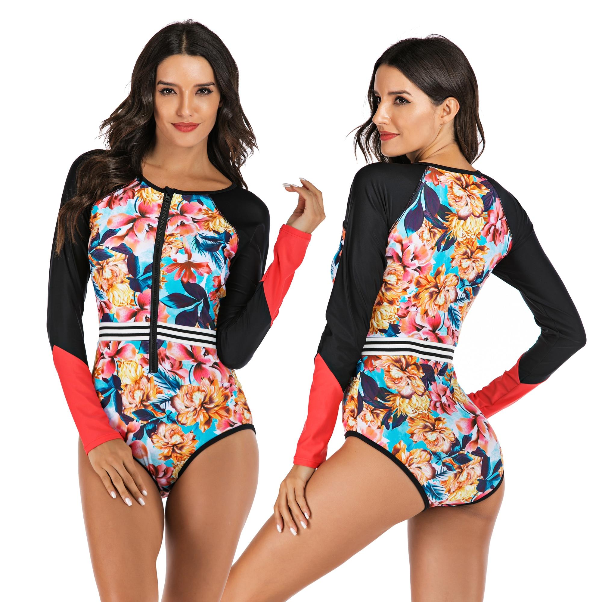 Новинка 2020, Рашгард, Цельный купальник для дайвинга, с принтом, с длинным рукавом, женский купальник, купальный костюм, Рашгард, серфинг, купальный костюм|Комбинезоны|   | АлиЭкспресс