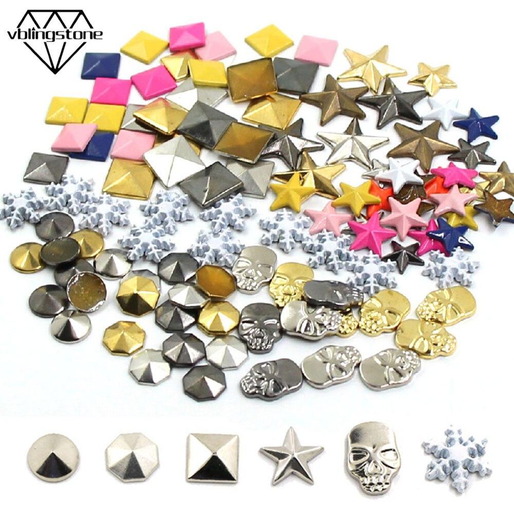 100Pcs Hot Fix Studs Copper Star Square Skull Rhinestones  Iron-on Rivets For Clothes Metal Rivet DIY Punk Garment Accessories