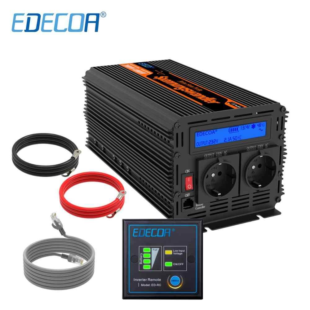 EDECOA 2000w czysta fala sinusoidalna DC 12V do AC 220v 230v 240v przetwornica napięcia szczyt 4000w z pilotem i wyświetlaczem LCD