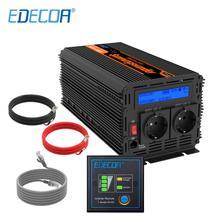 EDECOA onduleur à onde sinusoïdale pure 2000w 12V vers 220 230 240v, alimentation de crête 4000w, avec télécommande et écran LCD