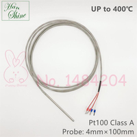 Pt100 Up to 400 Degree Celsius 4mm * 100mm Class A Precise Temperature Sensor 4 Wire Fiberglass Stainless Steel Braided Cable 2m