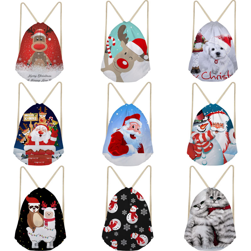 Drawstring Christmas Bags Drawstring Backpack Fun Santa Clause Reindeer Cat Snowman Beach Bag String Bagpack Children Book Bags