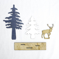 1 SET Elk Xmas Tree Santa Claus Pendants Hanging Wooden Christmas Ornaments Party DIY Decor Home Garden Decorative Supplies 3