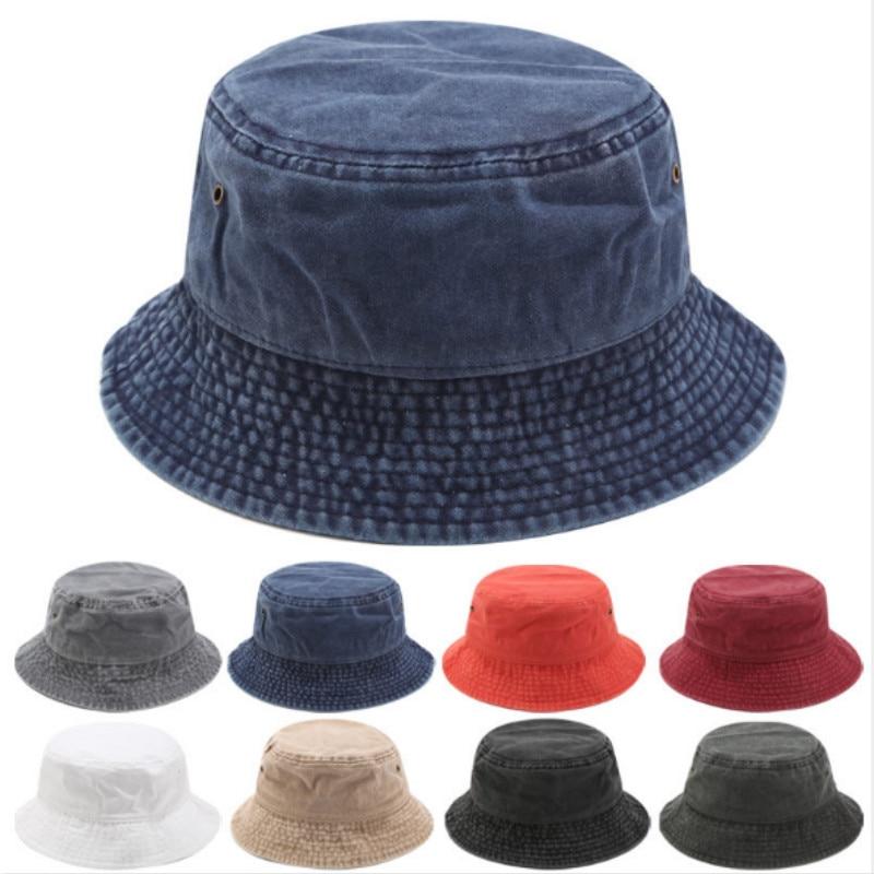 Washed Denim Bucket Hat Hip Hop Solid Wide Brim Cotton Fisherman Sun Hat Blank Summer Men Hat Outdoor Beach Fishing Cap Panama