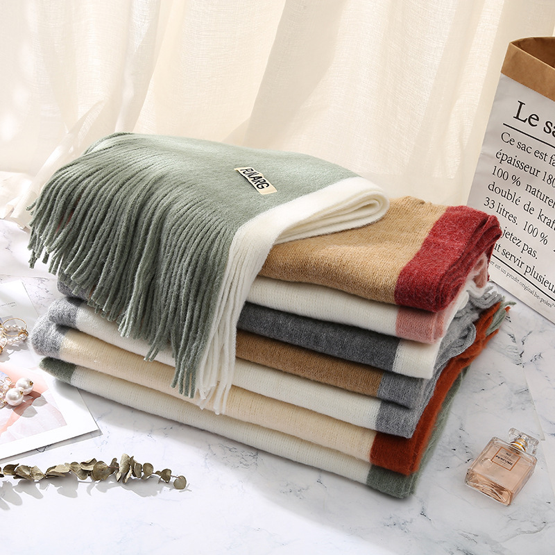 New Style Cashmere Like Knitted Scarf In Autumn And Winter Women's Fringe Warm And Thickened Double-sided Women's Scarf