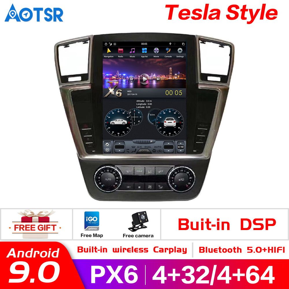 Tesla style Android 9.0 Car Multimedia Player for MERCEDES-BENZ GL ML ML 350 W 166 2012-2016 car GPS Navi Autoradio Audio stereo image