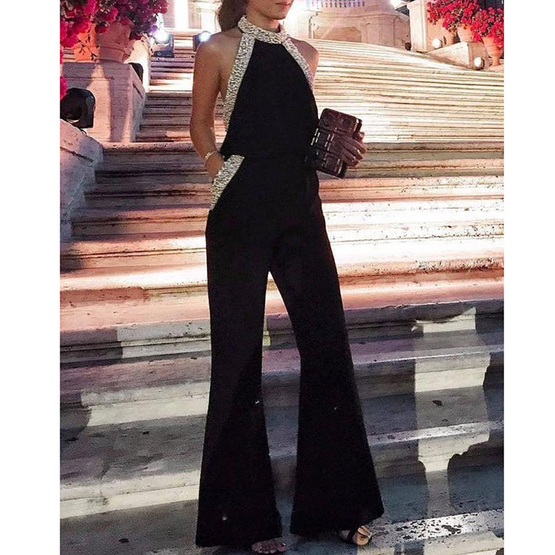 Women Glitter Patchwork Wide Leg Pants Jumpsuit Halter Sleeveless Pocket Jumpsuit Sexy Long Rompers Elegant Womens Party Overall