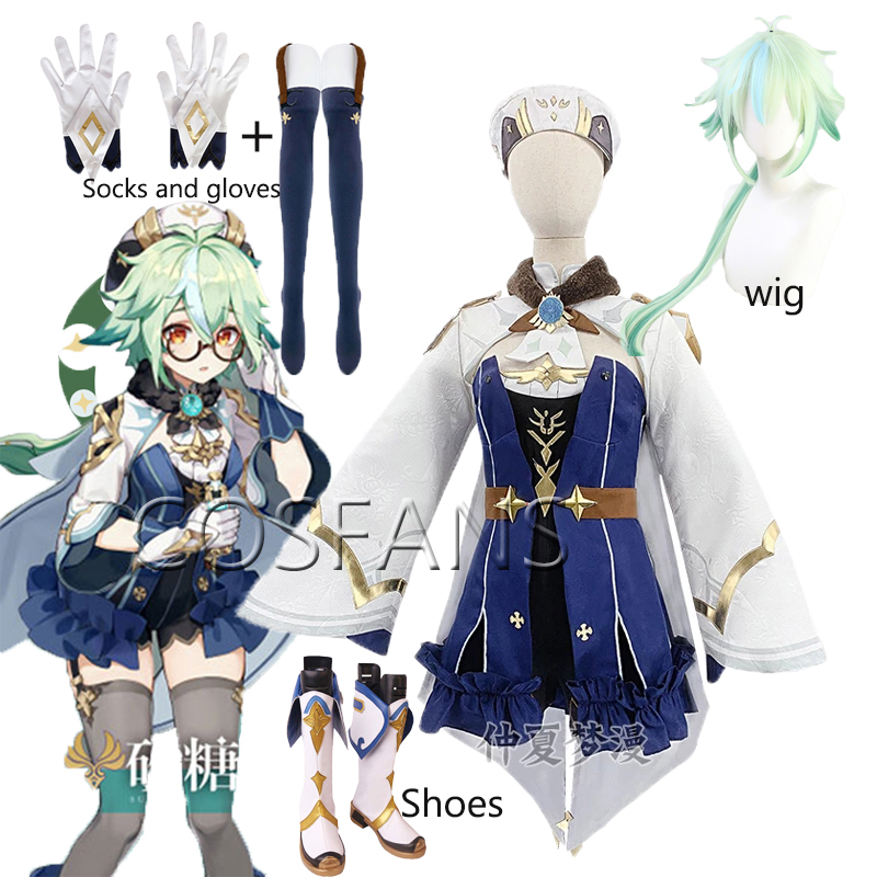 Genshin Impact Sacrose Cosplay Costume Game Role Play Outfits Full Set Halloween Uniform for Women